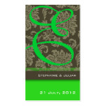Tarjeta de visita verde del Web site del boda del