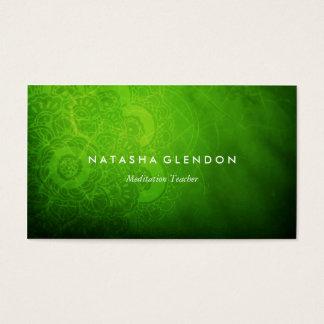Tarjeta de visita verde del zen de la mandala de