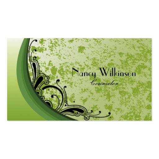 Tarjeta de visita verde elegante