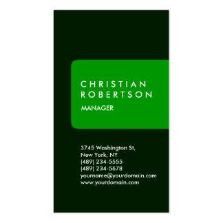 Tarjeta de visita verde estándar de moda vertical