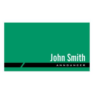 Tarjeta de visita verde llana del anunciador de la