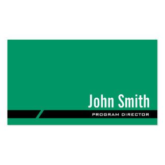 Tarjeta de visita verde llana del director de prog