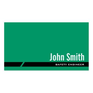 Tarjeta de visita verde llana del ingeniero de seg