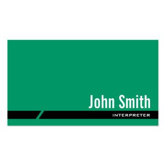 Tarjeta de visita verde llana del intérprete de la