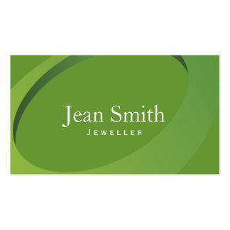Tarjeta de visita verde moderna de la joyería del