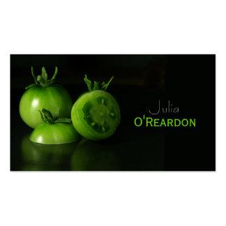 Tarjeta de visita verde negra de restaurante del c