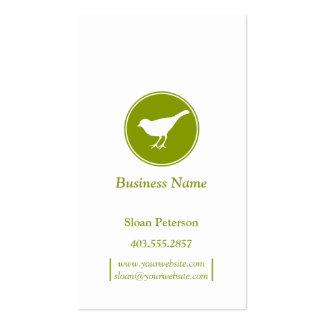 Tarjeta de visita verde oliva del pájaro