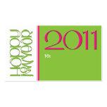 Tarjeta de visita verde rosada de la etiqueta del