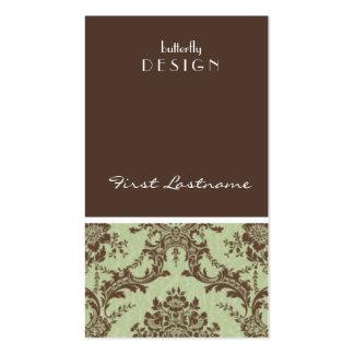 tarjeta de visita verde y marrón del damasco