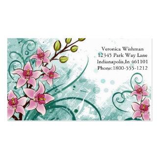 Tarjeta de visita verde y rosada floral elegante