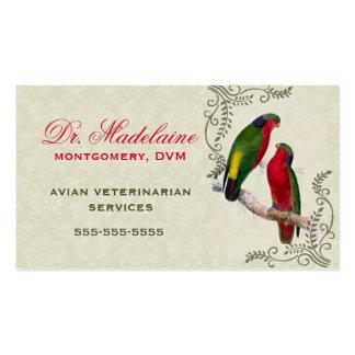 Tarjeta de visita veterinaria aviar del loro