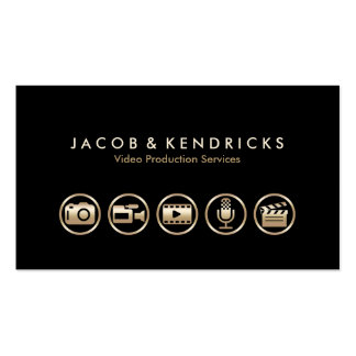Tarjeta de visita video de los iconos del oro de