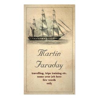 tarjeta de visita vieja hermosa del barco de la