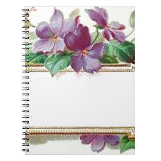 Tarjeta de visita violeta del vintage colorido ele libro de apuntes con espiral