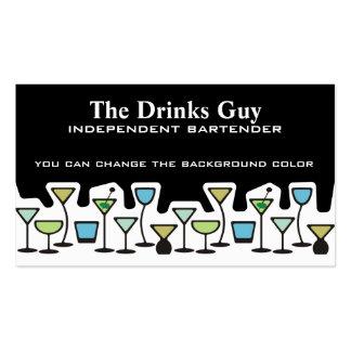 Tarjeta de visitas del camarero de las bebidas tarjetas personales