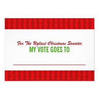 Tarjeta de votación de la votación del suéter feo comunicados personalizados