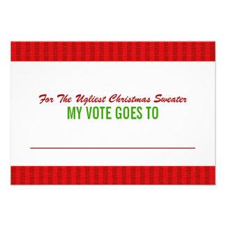 Tarjeta de votación de la votación del suéter feo comunicado personalizado