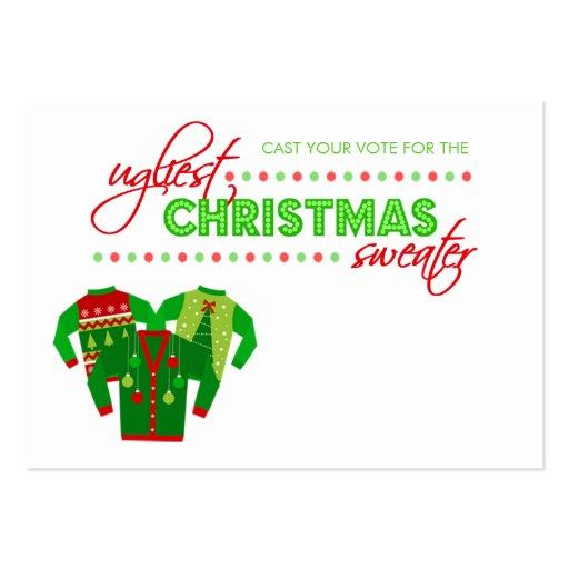 Tarjeta de votación de la votación del suéter feo  plantilla de tarjeta personal