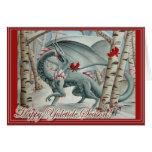 Tarjeta de Yule del navidad del dragón