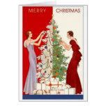 Tarjeta del ajuste del árbol de navidad del vintag