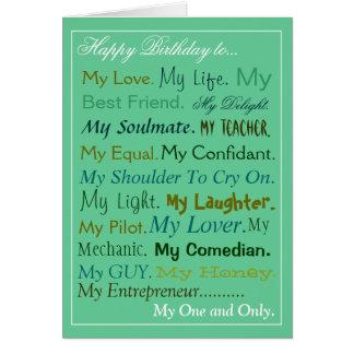 Tarjeta del amante de la tarjeta de cumpleaños del