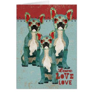 Tarjeta del amor de los dogos franceses