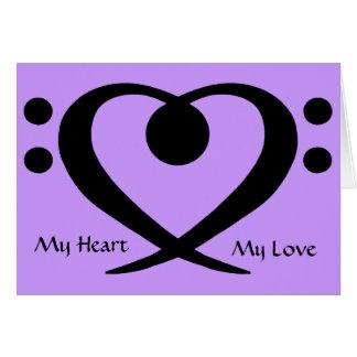 Tarjeta del amor del corazón del Clef bajo
