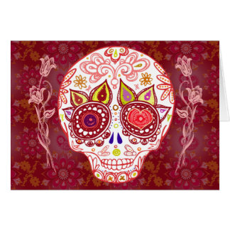 Tarjeta del amor del cráneo del azúcar de las