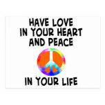 tarjeta del amor y de la paz postal