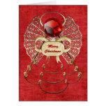Tarjeta del ángel de las Felices Navidad - rojo