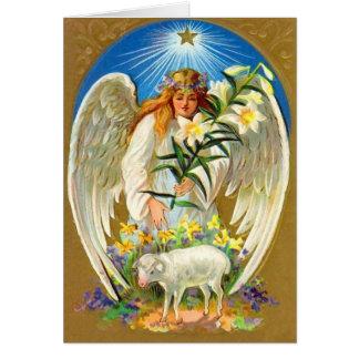 Tarjeta del ángel de Pascua del vintage