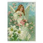 Tarjeta del ángel de Pascua Lilly del vintage