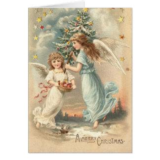 Tarjeta del ángel del navidad del Victorian