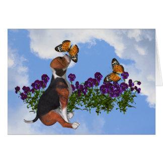 Tarjeta del animal de las flores de mariposas del