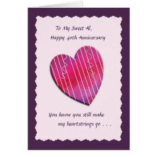Tarjeta del aniversario de boda de los Heartstring
