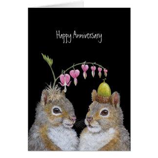 Tarjeta del aniversario de los pares de la ardilla