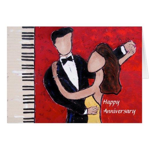 tarjeta del aniversario de los pares del baile