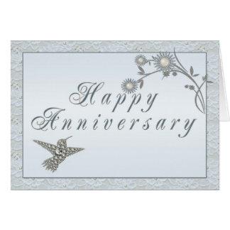 Tarjeta del aniversario del colibrí de la perla de
