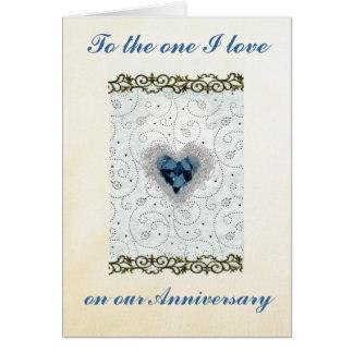 Tarjeta del aniversario del corazón del diamante