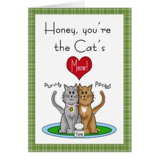 Tarjeta del aniversario del maullido del gato