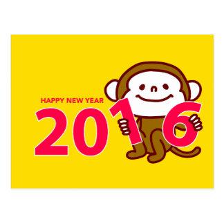 Tarjeta del Año Nuevo de 2016 monos Tarjeta Postal