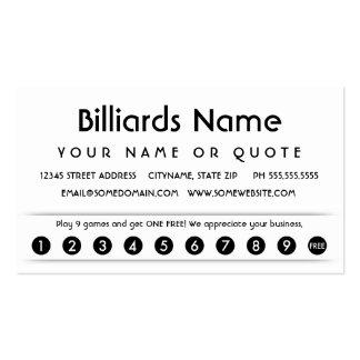 tarjeta del aprecio del cliente de los billares tarjetas de visita