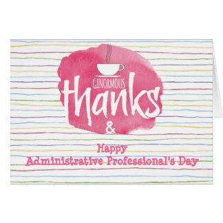 Tarjeta del aprecio del profesional administrativo