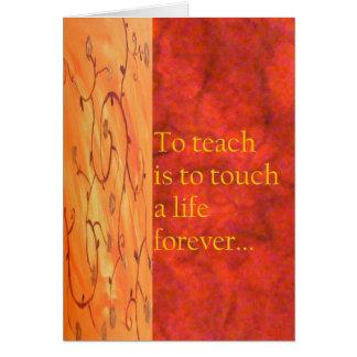 Tarjeta del aprecio del profesor