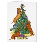 Tarjeta del árbol de navidad del Dachshund