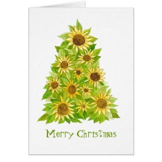 Tarjeta del árbol de navidad del girasol