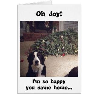Tarjeta del árbol de navidad del humor del perro