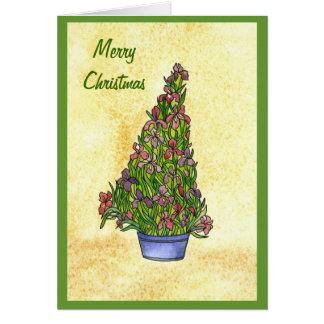 Tarjeta del árbol de navidad del iris