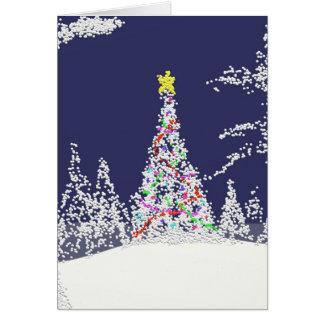 Tarjeta del árbol de navidad Nevado