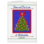 Tarjeta del árbol de navidad para el padrino - paz